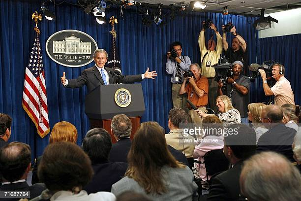 United States President George W Bush speaks about the temporary workspace for the White House Press Corps during a news conference at Jackson Place...