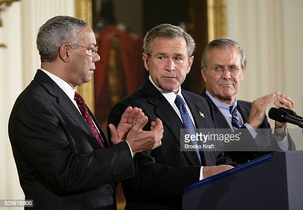 United States President George W Bush speaks before signing an $875 billion package approved by Congress for Iraq and Afghanistan during a ceremony...