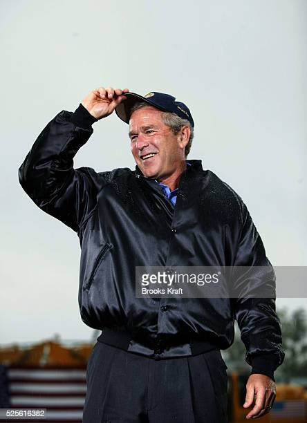 United States President George W Bush speaks to members of the Ohio Operating Engineers union on a rainy Labor Day at their training center On the...