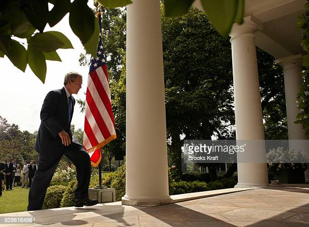 United States President George W. Bush speaks to reporters, accepting personal responsibility for a controversial portion of last winter's State of...