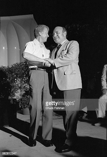 United States President Jimmy Carter with George Wein Jazz Festival impresario at the White House Jazz Concert held on the South Lawn to commemorate...