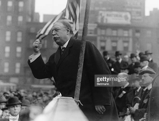 United States President William Howard Taft makes a point during an election speech Undated photograph circa 1910