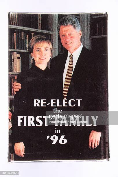 United States presidential campaign button pin for democratic candidate Bill Clinton and First Lady Hillary Rodham Clinton stating Reelect the First...
