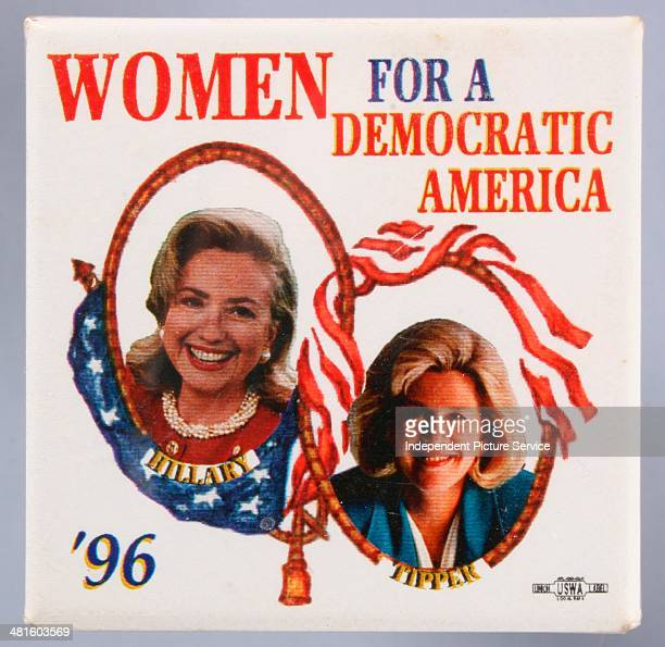 United States presidential campaign button pin showing First Lady Hillary Rodham Clinton and Tipper Gore stating Women for a Democratic America