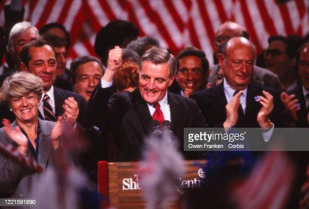 United States presidential candidate Walter Mondale at the podium with running mate Geraldine Ferraro and supporters including Governor Mario Cuomo...