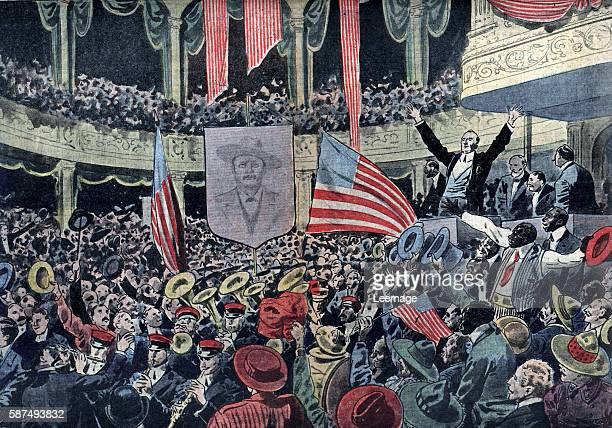 United States presidential election meeting of the progressive party in Chicago supporting the candidate Theodore Roosevelt, june 1912 Illustration...