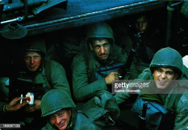 United States Rangers from E Company 5th Ranger Battalion on board a landing craft assault vessel in Weymouth harbour Dorset 4th June 1944 The ship...