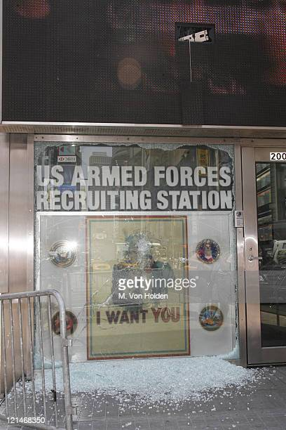 United States Recruiting Office Times Square during Protestors Vandalize Times Square US Armed Forces Recruting Station - New York - August 7, 2006...