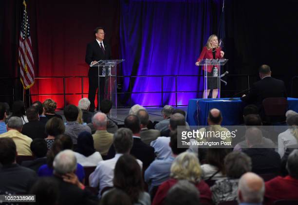 United States Representative Dave Brat and Democratic challenger Abigail Spanberger take part in a 7th Congressional debate for Virginia at Germanna...