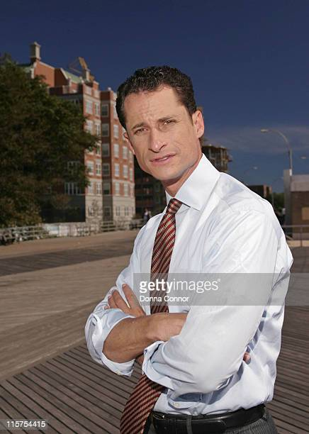 United States Representative for New York Anthony Weiner poses on the boardwalk in Coney Island on September 21 2004 in Brooklyn New York