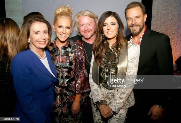 United States Representative Nancy Pelosi Kimberly Fairchild Phillip Sweet Karen Fairchild and Jimi Westbrook of Little Big Town attend Grammys on...