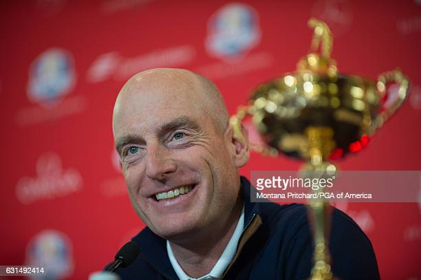 United States Ryder Cup Captain Jim Furyk talks during the Ryder Cup Captain's Announcement press conference at PGA of America Headquarters on...