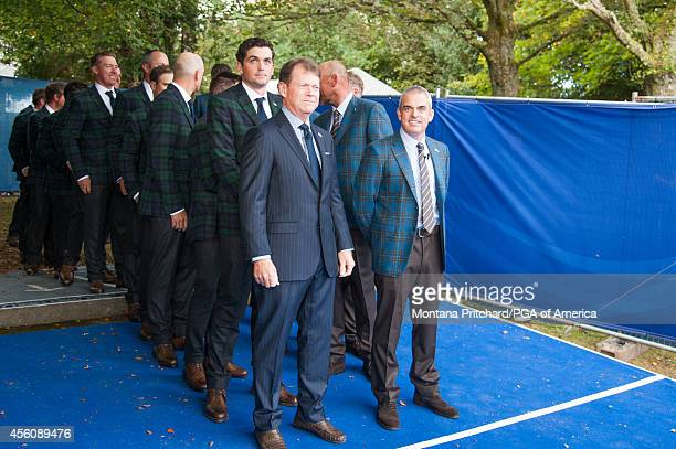 United States Ryder Cup Captain Tom Watson and European Ryder Cup Captin Paul McGinley wait to enter during the Opening Ceremonies for the 40th Ryder...