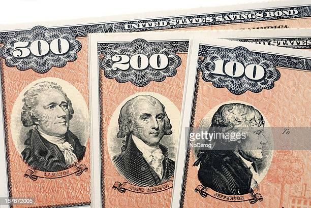 united states savings bonds series ee - james madison stock photos and pictures
