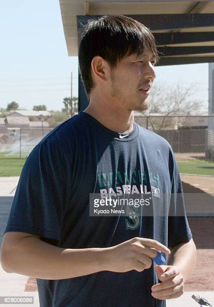 PEORIA United States Seattle Mariners No 2 starter Hisashi Iwakuma talks to reporters in Peoria Arizona on Feb 12 about an injury to the middle...