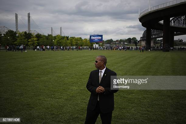 A United States Secret Service agent stands guard during a campaign event for Senator Bernie Sanders an independent from Vermont and 2016 Democratic...