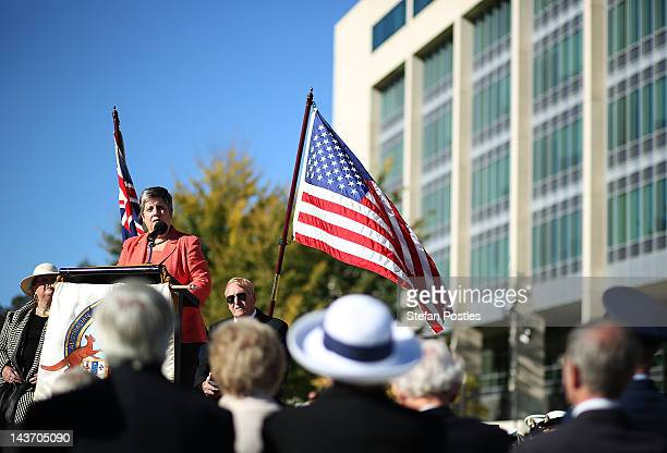United States Secretary for Homeland Security Janet Napolitano delivers the President's Coral Sea Message during a service marking the 70th...