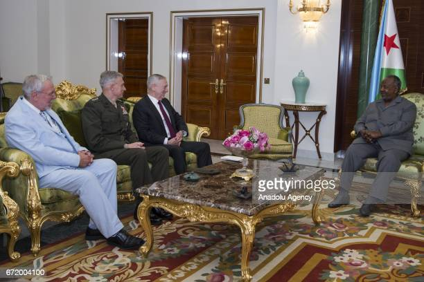 United States Secretary of Defense James Mattis US Marine Corps General Thomas Waldhauser meet with the President of Djibouti Ismail Omar Guelleh...