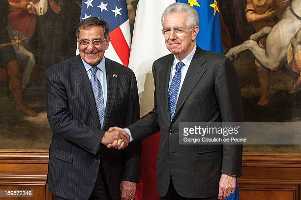 United States Secretary of Defense Leon Panetta shakes hand with Italian Prime Minister Mario Monti during a meeting at Palazzo Chigi on January 16,...