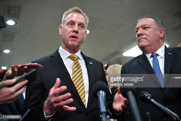 United States Secretary of Defense Patrick Shanahan and US Secretary of state Mike Pompeo give a statement after a closeddoor briefing on Iran in the...