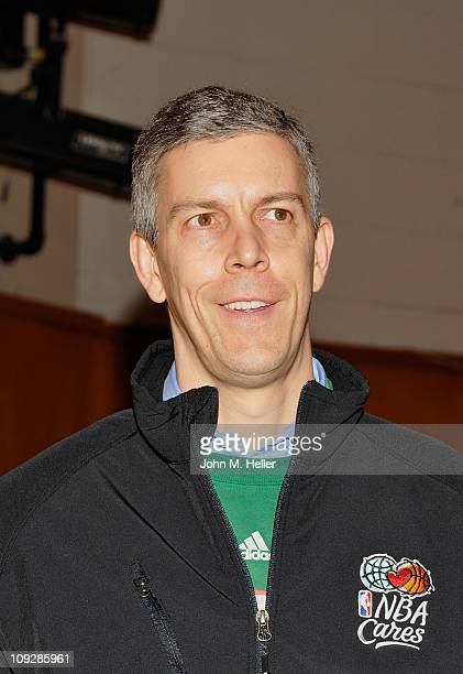 United States Secretary of Education Arne Duncan attends the NBA Cares AllStar Day of Service with City Year at Virgil Middle School on February 18...