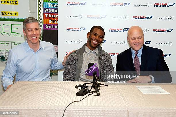United States Secretary of Education Arne Duncan Los Angeles Clippers Chris Paul and New Orleans Mayor Mitch Landrieu hold a press conference...