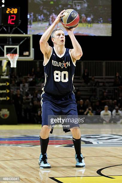 United States Secretary of Education Arne Duncan participates in the NBA AllStar Celebrity Game 2014 at New Orleans Arena on February 14 2014 in New...
