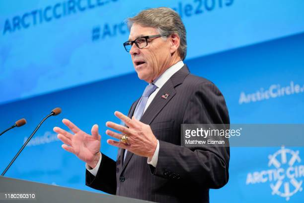 United States Secretary of Energy and former Governor of Texas Rick Perry attends the Arctic Circle Assembly at Harpa Concert Hall on October 10 2019...