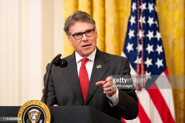 United States Secretary of Energy Rick Perry speaking about America's Environmental Leadership in the East Room of the White House in Washington DC