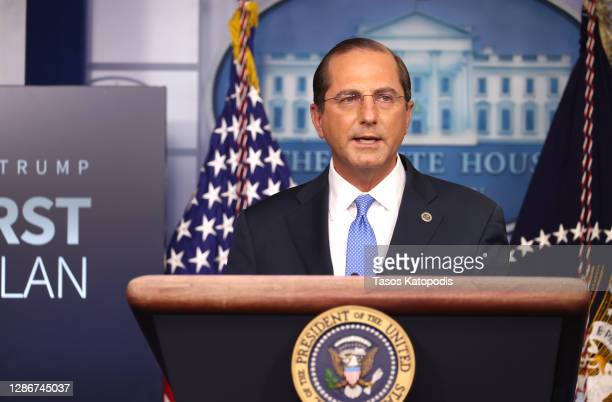 United States Secretary of Health and Human Services Alex Azar speaks to the press in the James Brady Press Briefing Room at the White House on...