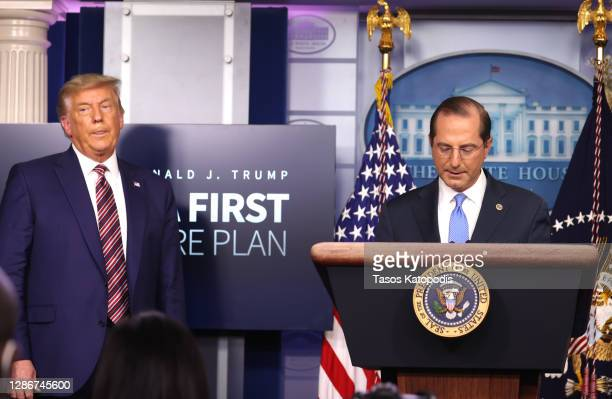 United States Secretary of Health and Human Services Alex Azar speaks to the press as U.S. President Donald Trump looks on in the James Brady Press...