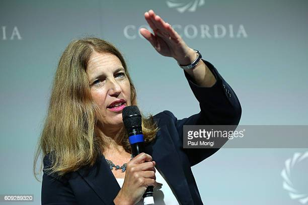 United States Secretary of Health and Human Services Sylvia Mathews Burwell speaks at the 2016 Concordia Summit Day 2 at Grand Hyatt New York on...