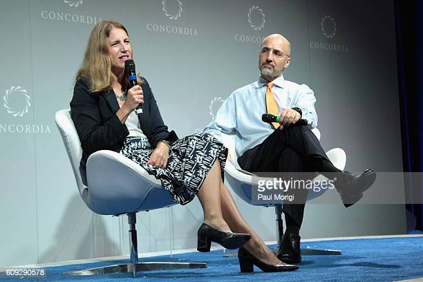 United States Secretary of Health and Human Services Sylvia Mathews Burwell and Director and CEO Miller Center William J Antholis speak at the 2016...