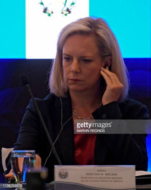 United States Secretary of Homeland Security Kirstjen Nielsen attends the opening of the fourth meeting of security ministers of the 'Northern...