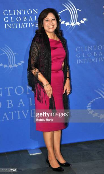 United States Secretary of Labor Hilda Solis attends the 2009 Clinton Global Initiative opening reception at The Museum of Modern Art on September 23...