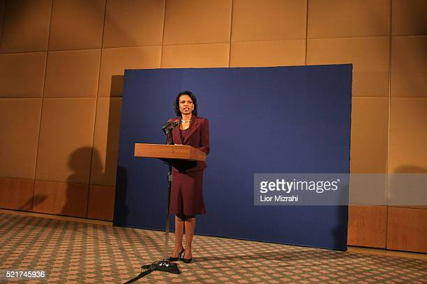 United States Secretary of State Condoleezza Rice delivers a statement following a meeting with Israeli Prime Minister Ehud Olmert and Palestinian...
