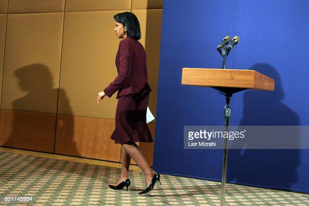 United States Secretary of State Condoleezza Rice leaves after deliver a statement following a meeting with Israeli Prime Minister Ehud Olmert and...
