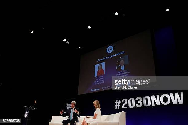 United States Secretary of State John F Kerry speaks on stage as journalist Katty Kay looks on during the 2016 Social Good Summit held at the 92nd...