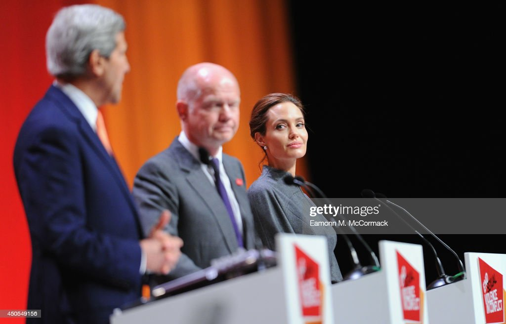 United States Secretary of State John Kerry, British Foreign Secretary William Hague and UN Special Envoy and actress Angelina Jolie attend the Global Summit to End Sexual Violence in Conflict at ExCel on June 13, 2014 in London, England. The four-day conference on sexual violence in war is hosted by Foreign Secretary William Hague and UN Special Envoy and actress Angelina Jolie.