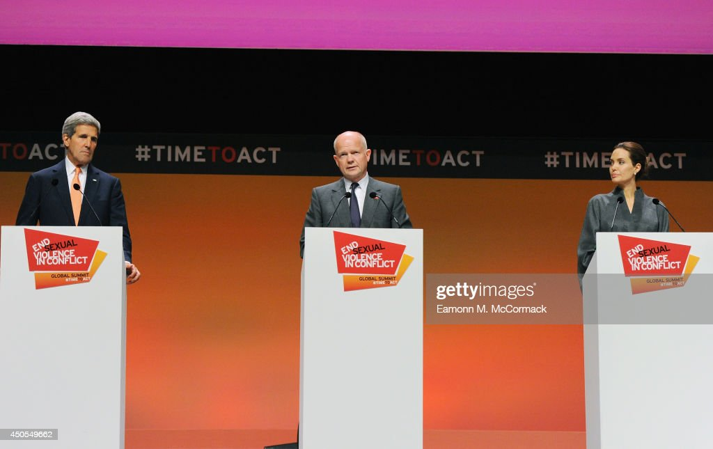 United States Secretary of State John Kerry, British Foreign Secretary William Hague and UN Special Envoy and actress Angelina Jolie attend the Global Summit to End Sexual Violence in Conflict at ExCel on June 13, 2014 in London, England. The four-day conference on sexual violence in war is hosted by Foreign Secretary William Hague and UN Special Envoy and actress Angelina Jolie