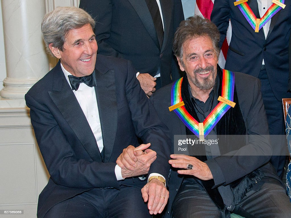 United States Secretary of State John Kerry, left, shakes hands with actor Al Pacino, right, as they prepare prepare to pose with the five recipients of the 39th Annual Kennedy Center Honors following a dinner at the U.S. Department of State in Washington, D.C. on Saturday, December 3, 2016. The 2016 honorees are: Argentine pianist Martha Argerich; rock band the Eagles; screen and stage actor Al Pacino; gospel and blues singer Mavis Staples; and musician James Taylor. From left to right back row: Joe Walsh, Don Henley, and Timothy B. Schmidt of the rock band 'The Eagles.' Front row, left to right: Al Pacino, Mavis Staples, Martha Argerich, and James Taylor.