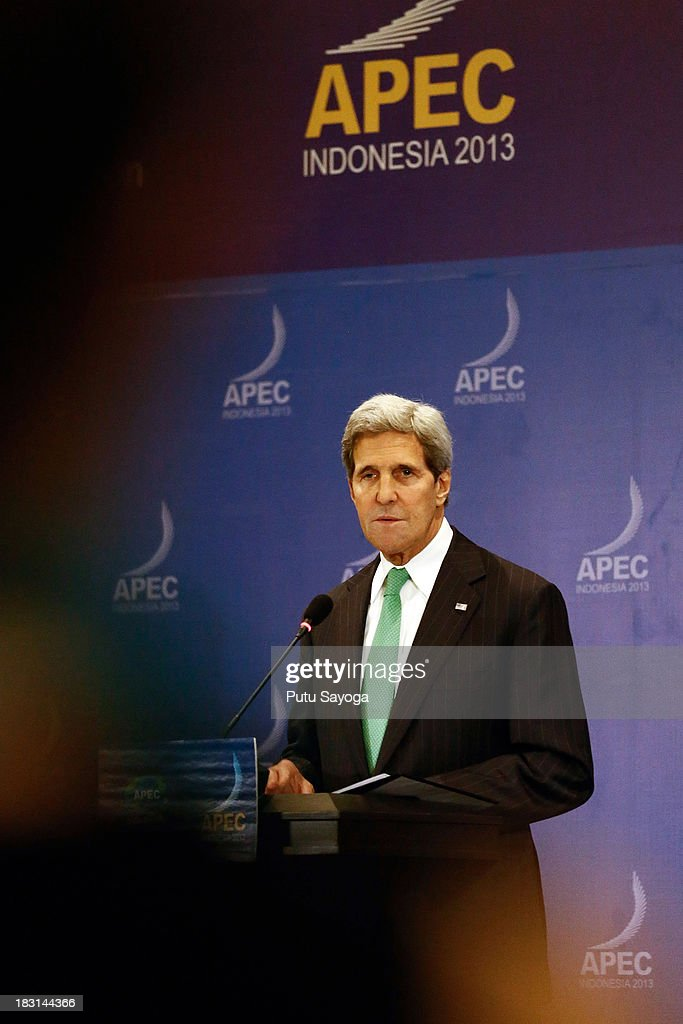 United States Secretary of State John Kerry talks to journalist at a press conference during the APECSummit on October 5, 2013 in Nusa Dua, Indonesia.