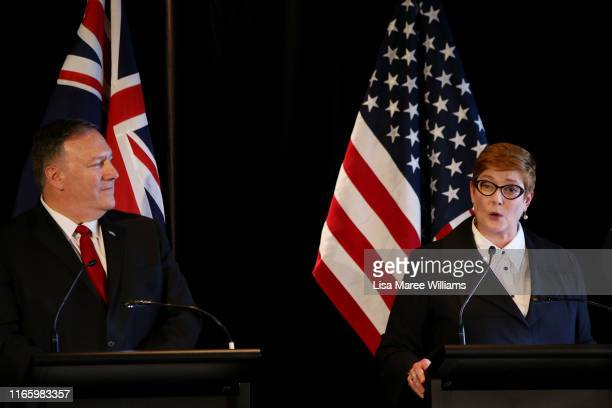 United States Secretary of State, Mike Pompeo and Australian Foreign Minister, Marise Payne speak during a press conference at Parliament of New...