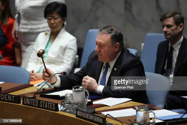 United States Secretary of State Mike Pompeo chairs a United Nations Security Council meeting on September 27 2018 in New York City Pompeo follows...