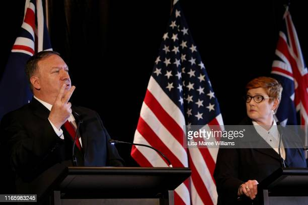 United States Secretary of State, Mike Pompeo gestures during a press conference whilst standing next to and Australian Foreign Minister, Marise...
