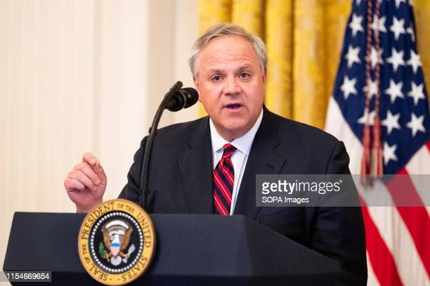 United States Secretary of the Interior David Bernhardt speaking about America's Environmental Leadership in the East Room of the White House in...