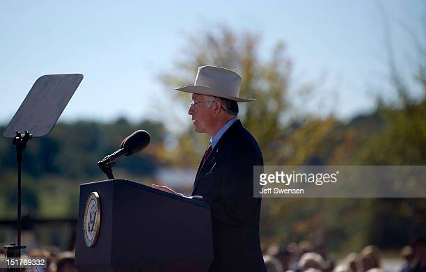 United States Secretary of the Interior Ken Salazar speaks at the Flight 93 National Memorial during observances commemorating the eleventh...