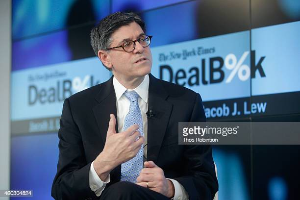 United States Secretary of the Treasury Jacob J Lew speaks onstage during The New York Times DealBook Conference at One World Trade Center on...