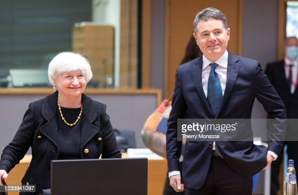 United States Secretary of the Treasury Janet Yellen and the Irish Minister for Public Expenditure and Reform Paschal Luke Donohoe attend an...