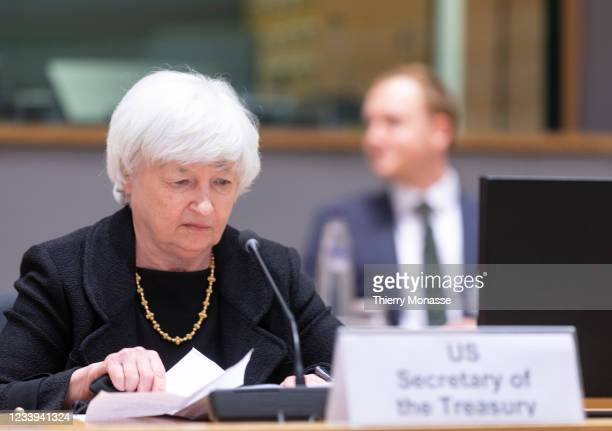 United States Secretary of the Treasury Janet Yellen attends an inclusive Eurogroup Ministers meeting in the Europa building on July 12, 2021 in...